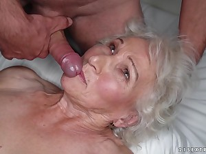 Granny Norma cheats on say no to sleeping husband close to young stud