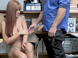 Tattooed Scarlett Mae gets twofold and fucked wits her boss