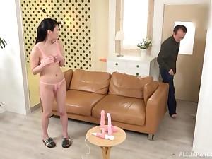 Japanese brunette Amano Miyuu gets the brush pussy toyed with until orgasm