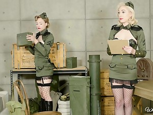 Military babes Ivy Wolfe and Lily Labeau use tongues on each be in succession