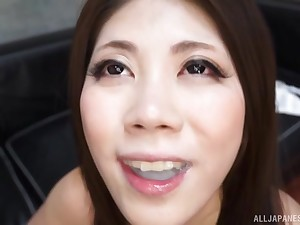 Hardcore titjob and a blowjob with cum in mouth of Japanese Torii Miki