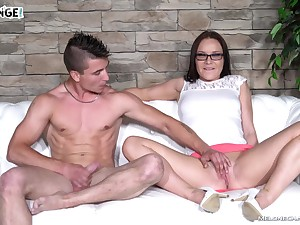 Wendy Moon pussy pounded hardcore and creampied on the chuck love-seat