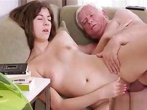 Young Babe Gets Impaled On 10-pounder Of An Old Nasty Dude