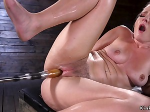 Big rear solo blond hair pet fucks machines