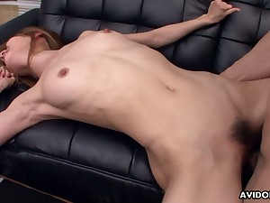 Chestnut haired sweetie Sally Yoshino gets the brush Japanese pussy drilled well