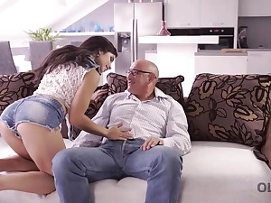 Abb� drills throat, pussy, and ass of gorgeous incomprehensible