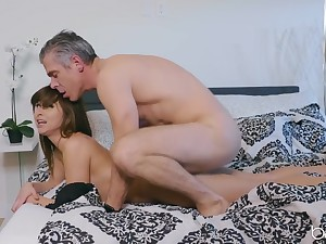 Young Riley Reid fucked from behind wits an senior bloke