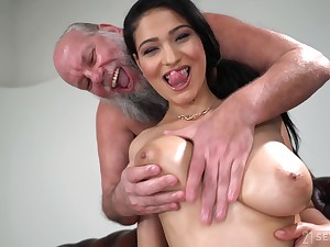 Lucky old guy gets to fuck Ava Black while she moans sash