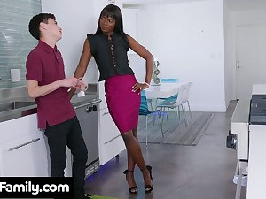 Slender ebony stepmom Ana Foxxx bangs white stepson germane in the kitchen