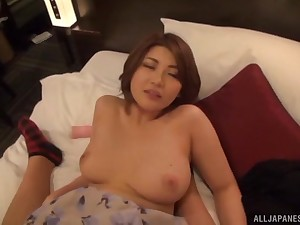 Short haired Japanese babe gives titjob and rides weasel words