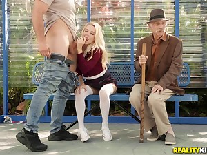 Kinky blonde babe Riley Star in a sure thing outdoor public sex scene