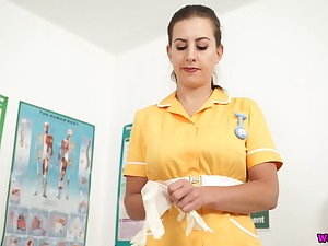 Lusty nurse Tindra Frost unbuttons yellow uniform dress and plays in the air boobs