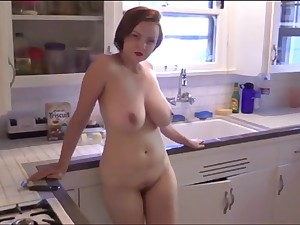 Russian MILF Natasha Kitchenette Striptease