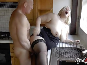 Busty of age blonde Lacey Starr got fucked hard on all the different places