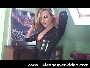 Natalia K takes retire from the brush latex outfit to reveal the brush undevious perky tits
