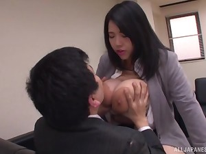 Chubby Japanese secretary Yuuki Iori gives a tijob in all directions her huge breast
