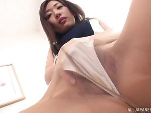 Solely clothed masturbation session with Japanese MILF Sakaguchi Rena