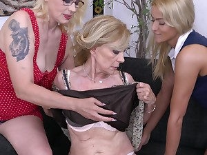 Celeste has her best friends over for a hardcore lesbian threesome