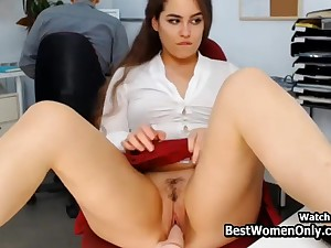 Latin Couple Using Dildo Webcam Show In Office