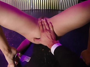 A stripper with hairy cunt getting drilled convenient the club. POV.