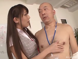 High-grade Japanese babe in a tight skirt Kashii Ria gets cum out of reach of her tits