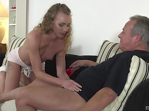 Cute blonde Angel Emily gets her shaved pussy pounded away from older mendicant