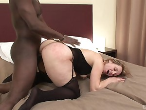 Busty mature enjoys millions of black cock beside her cunt