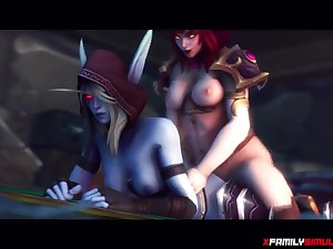 Redhead Warcraft futa slut gets sucked off by futanari Sylvanas before she gets ass rammed