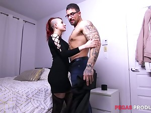Two tattooed studs fuck deep throat and wet pussy be fitting of naughty Lydya Moser