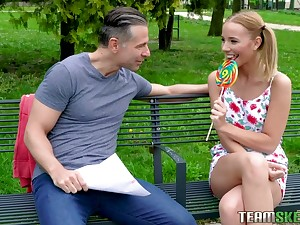Pigtailed teen with braces Poppy Awe is having quickie with one stranger pauper