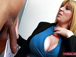 Experienced blonde serves fresh cock with will not hear of mature holes