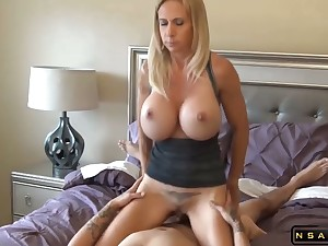 Obese tits blonde milf fucked by lucky dude