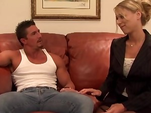 Passionate shagging on the office couch with reference to slutty Katie Morgan