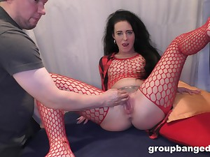 Nasty of age in red fishnet gets fucked off out of one's mind two younger studs