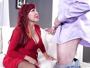 Despondent redhead BBW Despondent Vanessa has addiction to riding strong cock