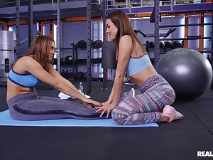 Lesbians are having a naughty time up ahead gym