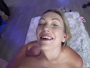 Homemade POV photograph of wicked fucking with a facial grand finale for Adira Allure