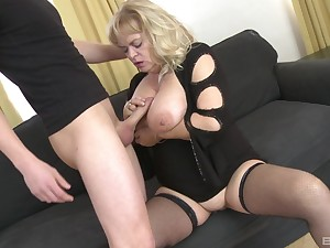 Chubby grown-up with reference to saggy tits gets fucked by a younger guy