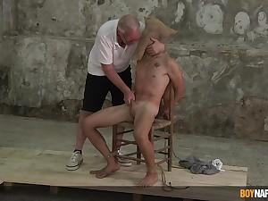 Twink endures grey man's dirty BDSM blissful fantasies